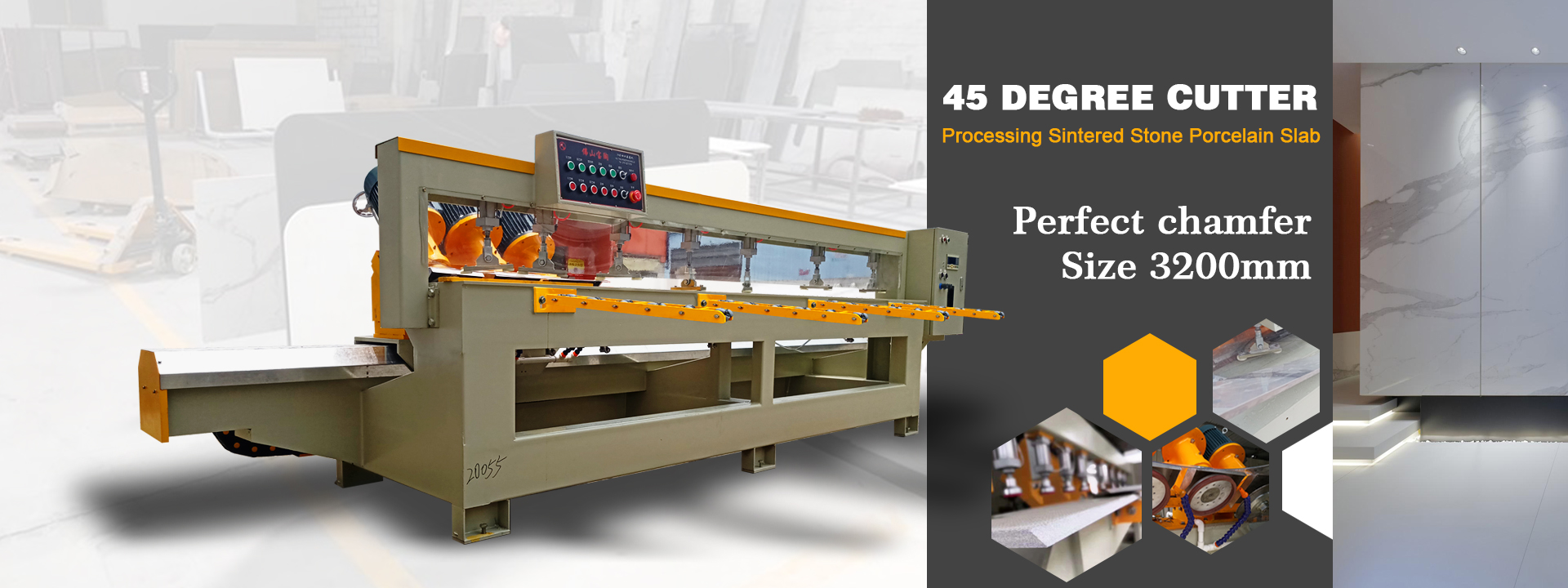 3200mm 45 degree cutter machine for processing sintered stone porcelain slab.