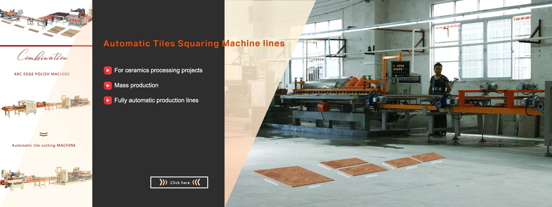 Tiles squaring machine lines For ceramics processing projects Mass production Fully automatic